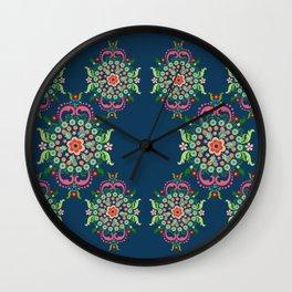 Folk Art Medallions on indigo blue Wall Clock