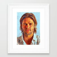 brad pitt Framed Art Prints featuring Brad Pitt I by Nick Arte