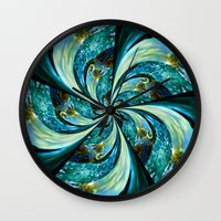 novelty Wall Clocks featuring Water Wheel by Moody Muse