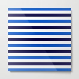 White, dark and bright blue stripes Metal Print