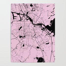Amsterdam Pink on Black Street Map Poster