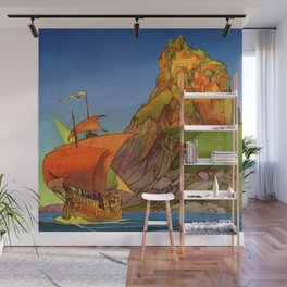 """""""A Ship Appeared"""" Cover by Frank Godwin Wall Mural"""