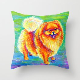 Rainbow Pomeranian Throw Pillow