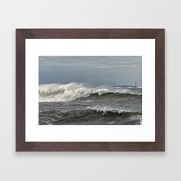 Big waves on the Back shore Framed Art Print