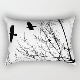 Black and White Graphic Birds and Tree Branches Rectangular Pillow