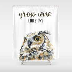 Grow Wise Little Owl Nursery Animals Art Great Horned Owl Shower Curtain