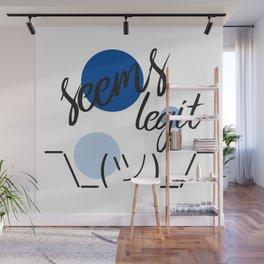Seems Legit - Dots Shrug Emoji Wall Mural