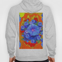 BLUE MORNING GLORIES YELLOW-ORANGE  PATTERN Hoody