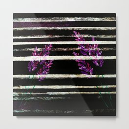 stripes and violet purple flowers Metal Print