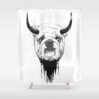 bulldog Shower Curtains featuring Bulldog by Balazs Solti
