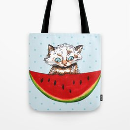 Cat and watermelon Tote Bag