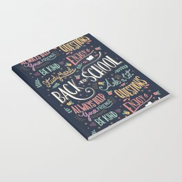 Back to school colorful typography drawing on blackboard with motivational messages, hand lettering Notebook