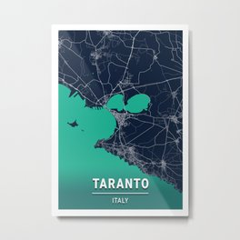 Taranto Blue Dark Color City Map Metal Print