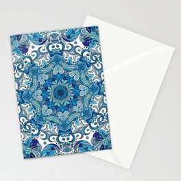 Blue Boho Mandela Pattern Stationery Cards