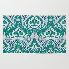 Decorative foliage and feathers drawing Rug