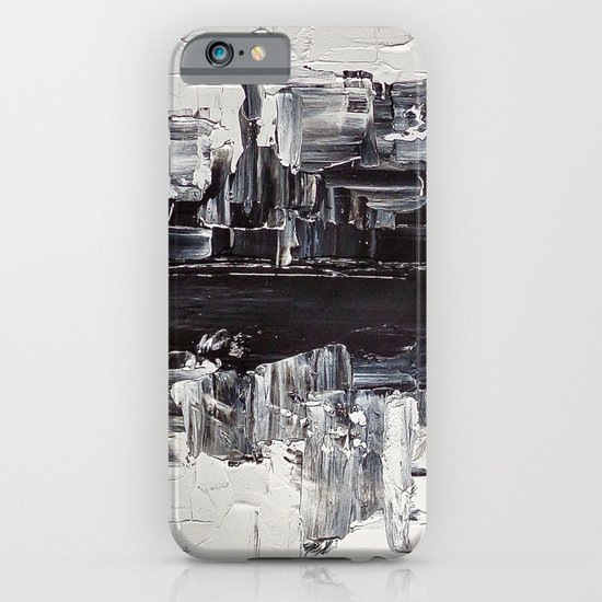Flatline - black & white abstract painting iPhone & iPod Case