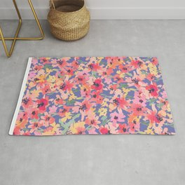 Little Peachy Poppy Garden Rug