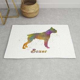 Boxer dog in watercolor Rug