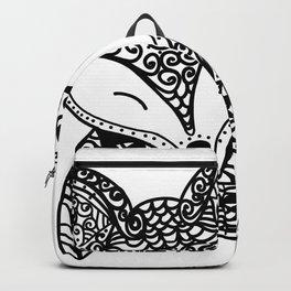 Black and White Mandala Fox Design Illustration Backpack