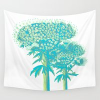 botanical Wall Tapestries featuring turquoise botanical by clemm