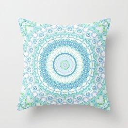 Blue, Green and White Mandala 02 Throw Pillow