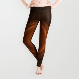Tribal Copper Rust Mandala Design Leggings