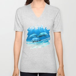 Pod Of Swimming Dolphins Unisex V-Neck