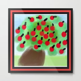 Red Apple Tree in a Breeze Metal Print
