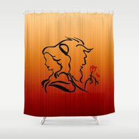beauty and the beast Shower Curtains featuring Beauty and The Beast by Raisya