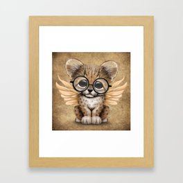 Cheetah Cub with Fairy Wings Wearing Glasses Framed Art Print