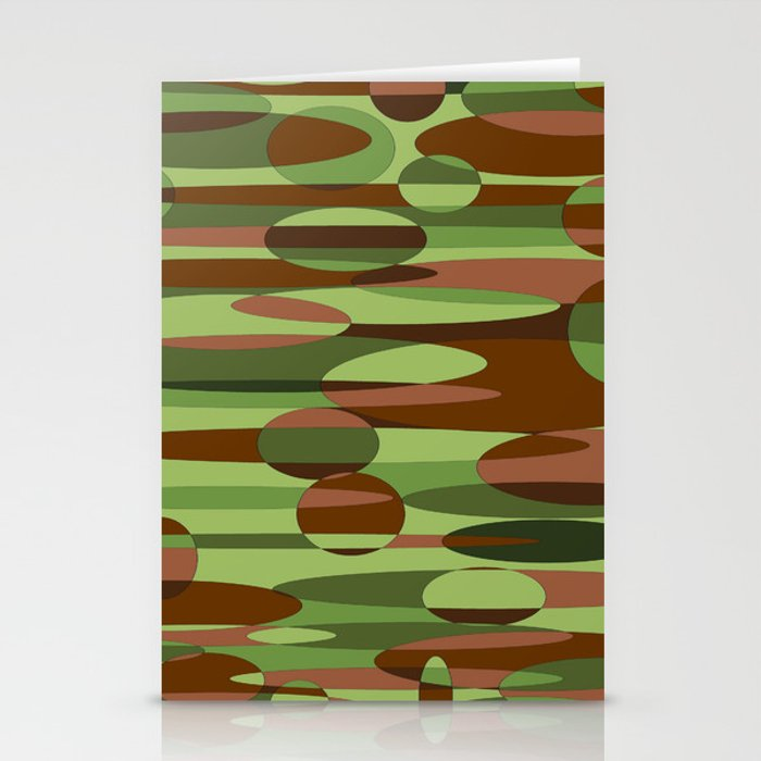 Trendy Green and Brown Camouflage Spheres Stationery Cards