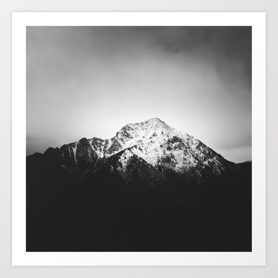 Black and white snowy mountain Art Print