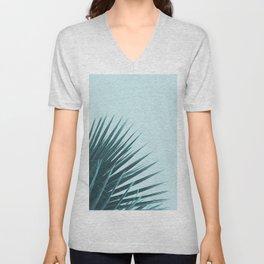 Blue Palm Leaf Unisex V-Neck