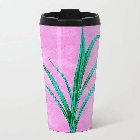 Potted plant with pink Metal Travel Mug