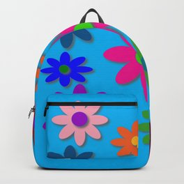 Flower Power - Blue Background - Fun Flowers - 60's Hippie Style Backpack