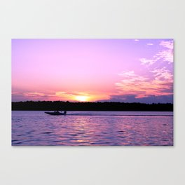 Bass boats and purple sunsets Canvas Print