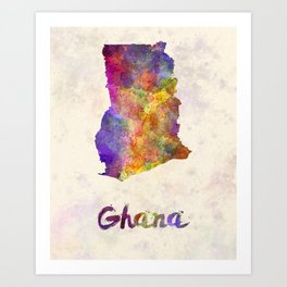 Ghana in watercolor Art Print