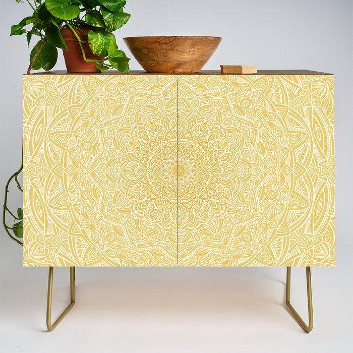 Most Detailed Mandala! Yellow Golden Color Intricate Detail Ethnic Mandalas Zentangle Maze Pattern Credenza