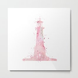 Lighthouse Art Gift Colorful Light Pink Watercolor Art Travel Gifts Nature Art Landscape Gifts Metal Print