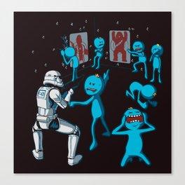 Meeseeks Teaching a Stormtrooper How To Shoot Canvas Print