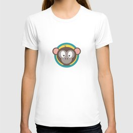 Cute Monkey Head with blue cirlce T-shirt