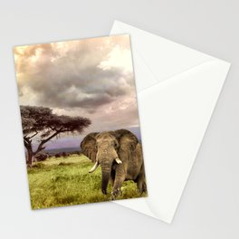 Elephant Landscape Collage Stationery Cards