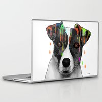 jack russell Laptop & iPad Skins featuring Jack Russell Dog BW by Marlene Watson