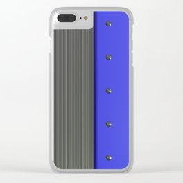 Colored plate with rivets and circular metal grille Clear iPhone Case
