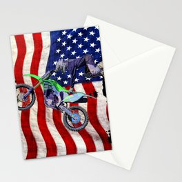 High Flying Freestyle Motocross Rider & US Flag Stationery Cards