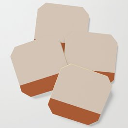 Minimalist Solid Color Block 1 in Putty and Clay Coaster