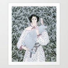 Girl and rabbit among flowers Art Print