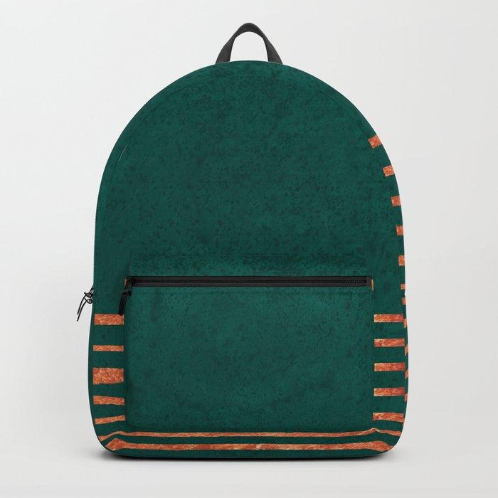 EMERALD COPPER GOLD BRASS STRIPES Backpack