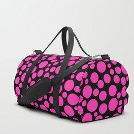 Black and pink polka dot pattern . Duffle Bag