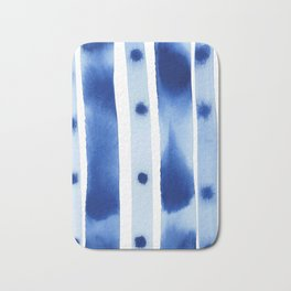 Blue ombre stripes: Abstract ocean watercolor painting Bath Mat